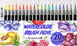 Watercolor Brush Pens Set, 20 Color Markers + 1 Bonus Refillable Water Brush Pen, Soft Tip for Art, Drawing, Coloring Page, Calligraphy, Sketching and Paint Effects, Portable Non-Toxic, Water Based