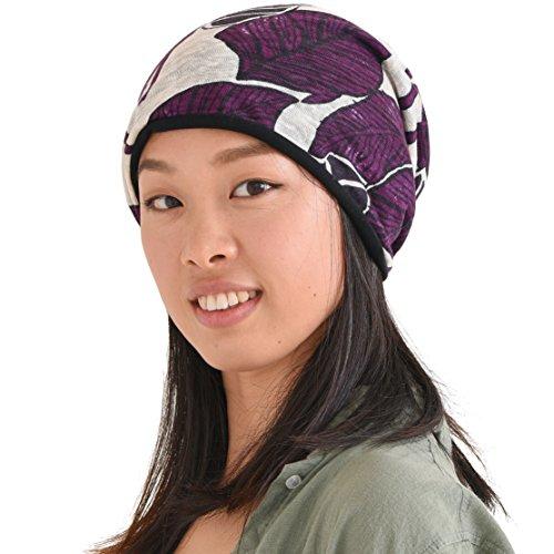 Purple Reversible Knit Beanie - CHARM Casualbox | Slouchy Beanie Organic Cotton Linen Hat Mens Womens Summer Winter Chemo Made in Japan Purple