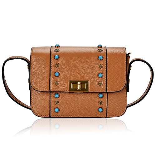 Dexmay Womens Brown Cowskin Leather Crossbody Bag with Star Studded & Emerald Stone Messenger Shoulder Handbag Purse