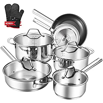 Deik Cookware Set, Kitchenware Set, MultiClad Pro Stainless Steel 12-Piece Pots and Pans Set, Rustproof & Oven-Safe Cooking Pots, PFOA Free & Riveted ...