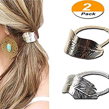 Amazon.com  2Pcs Women Girls Leaf Hair Rope Hair Band Metallic Hair Rope  Elastic Ponytail Holder Hair Accessories(Gold and Silver)  Beauty 557991a05d4