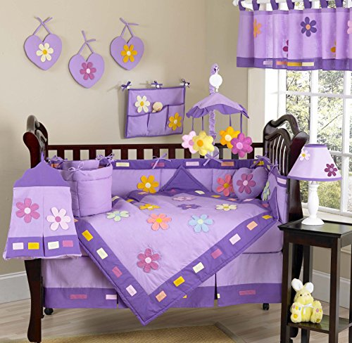 Crib Daisies Danielles (Sweet Jojo Designs 11-Piece Danielle's Daisies Flower Baby Girl Purple Floral Bedding Purple Crib Bedding Set Without Bumper)