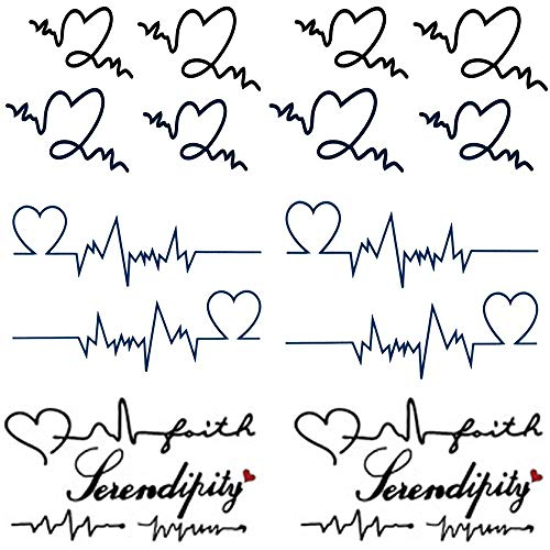 Yesallwas cute temporary tattoo sticker letters Love heartbeat wave tattoo word tatoo fake tattoos 6 sheet body waterproof tattoo