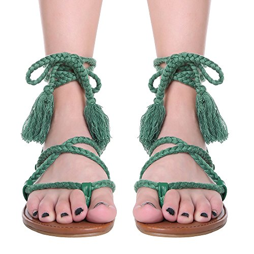 La Sophia Women's Sexy Straps Crisscross Lace Up Summer Gladiator Design Flat - Ankle Sandal Tie Flat