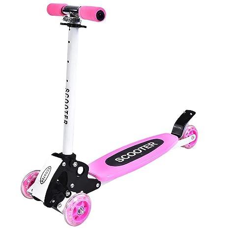 GOTOTOP Plegable Altura Ajustable 4-Rueda Scooter Patinete de Regalo para Niños (Rosa)