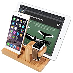 SAIKA 3-in-1 Apple Watch Stand and iPhone, iPad and Other Android Phone Stand [Charging Dock] Smooth Natural Bamboo Body Desk Charging Station
