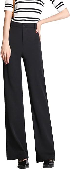 Laozana Mujer Pantalones Largos Comodos Pantalones Anchos Recto Cintura Alta Pantalones De Tela Negro Xl Amazon Es Deportes Y Aire Libre
