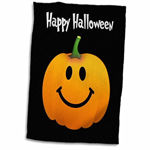 3dRose Happy Halloween Wish with Orange Pumpkin Smiley Face on Spooky Black Fun Cute Jack o Lantern Carving Towel, 15