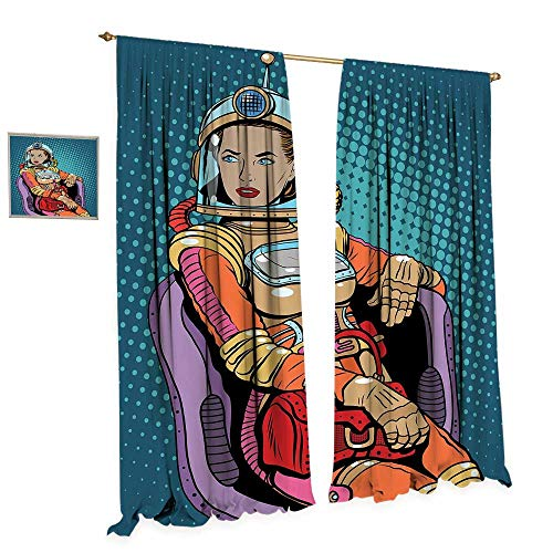 cobeDecor Astronaut Window Curtain Drape Retro Inspired Space Lady with Purse on a Chair Girl Power Womens Day Decorative Curtains for Living Room W84 x L108 Petrol Blue Multicolor