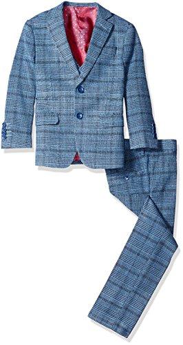 Isaac Mizrahi Boys' Little Boys' 3 Piece Multi Plaid Suit and Pant Set, Navy, 7 - Navy Plaid Suit