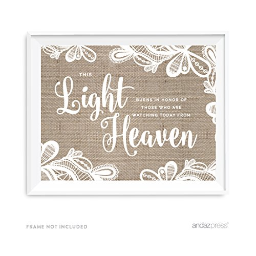 Lace Memory - Andaz Press Burlap Lace Print Wedding Collection, Party Signs, This Light Burns to Honor Those Who are Watching Today from Heaven Memorial Candle Table Sign, 8.5x11-inch, 1-Pack