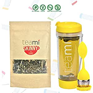 DETOX TEA for a Teatox & Weight Loss - 30 Day Supply to get Fit - Skinny by Teami Blends - Best to Help Boost Metabolism and Reduce Bloating - 100% Natural Appetite Suppressant (Kit, Yellow)