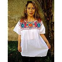 Blusa Mexicana Casual Bordada con Flores para Mujer