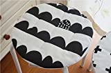 HOMEE the Nordic round Cushion Seat Cushion round Implementation Pad round Implementation Kit Baby Nursery Cushion Anti-Slip with Thin Cotton Linen, Stripes, a Diameter of About 32Cm (Back Clasp Vers