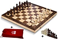 Smart Tactics Folding Chess Set Made By FSC Certified Wood - Premium Edition With Chess Bag and Extra Chess Pieces
