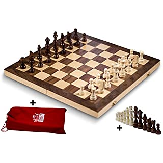 """GrowUpSmart Smart Tactics 16"""" Folding Chess Set Made by FSC Certified Wood - Premium Edition with Chess Bag and Extra Chess Pieces"""