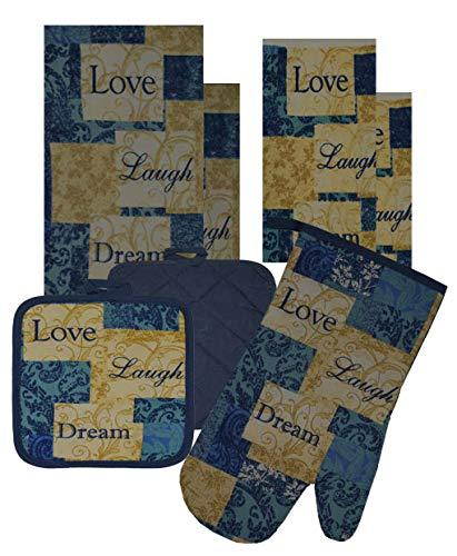7 Pieces 100% Cotton Kitchen Linen Set. (Oven Mitt, Kitchen Towels, Dish Cloths and Pot Holders) (Love/Laught/Dream)