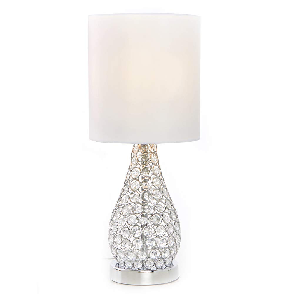 POPILION Decorative Chrome Bedside Crystal Table Lamp,19'' Elegant Table Lamps with White Fabric Shade for Bedroom Living Room Coffee Desk Lamp