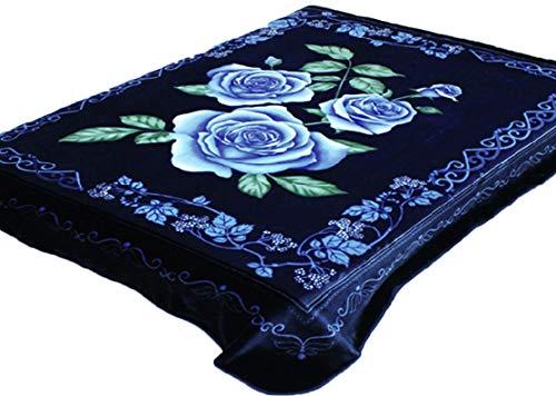 Solaron 4ESTACIONES Mink Plush Korean Durable Blanket from Company (Blue Flowers, -