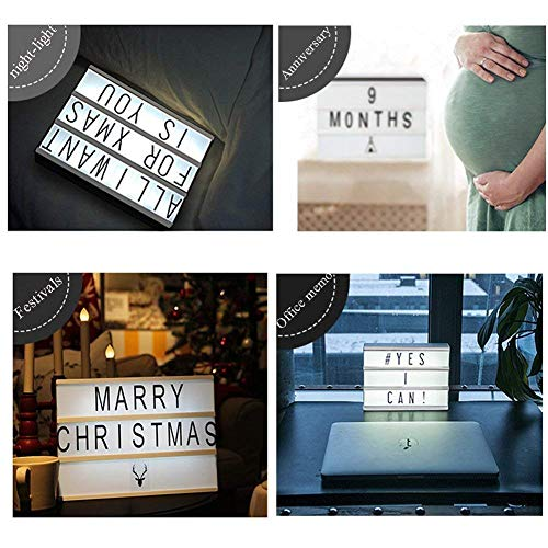 Symbols /& Emojis MorTime Cinema Light Box-Personalized Numbers White A4 Size Cinematic LED Light Box with 198 Letters