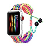 Bandmax Rainbow Band Compatible for Apple Watch 38MM 40MM, Colorful Rope iWatch Series 4/3/2/1 Nylon Wristband Accessories Handmade Weave Straps Bohemia Braided Bracelet with Flexible Drawstring Clasp