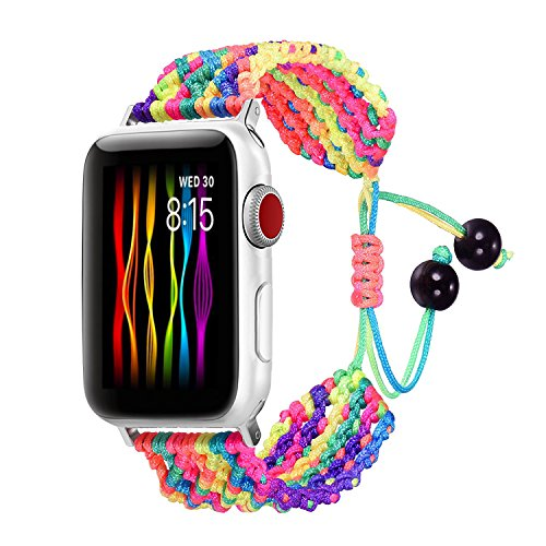 (Bandmax Rainbow Band Compatible for Apple Watch 38MM 40MM, Colorful Rope iWatch Series 4/3/2/1 Nylon Wristband Accessories Handmade Weave Straps Bohemia Braided Bracelet with Flexible Drawstring Clasp)