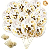 EuTengHao 20 Pieces Golden Confetti Balloons Party Balloons Filled with Gold Mylar Foil Beautiful Twinkle Gold Balloons for Wedding Party Birthday Dancing Party (12 inches)