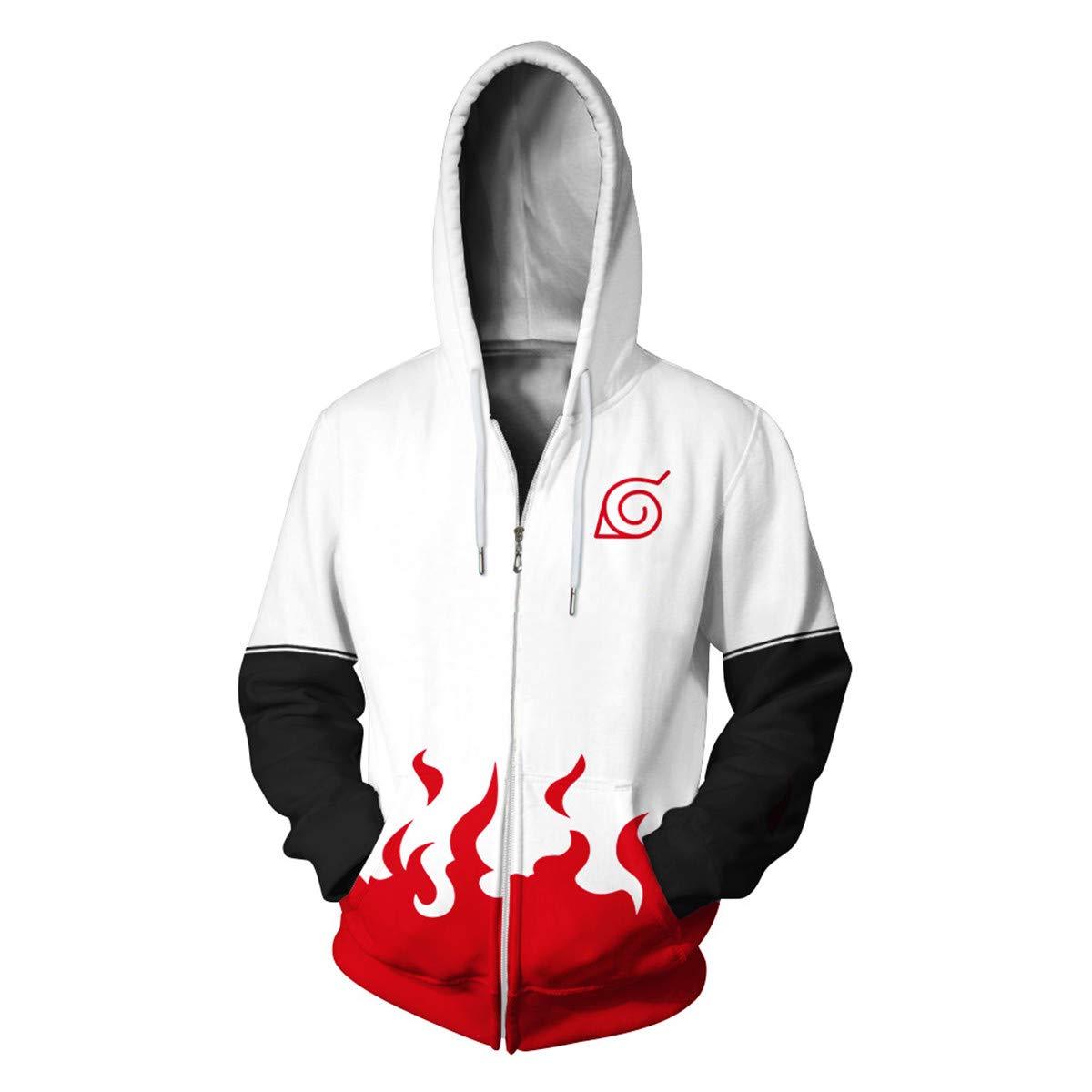 CHENMA Men Naruto Naruto Kakashi Long Sleeve Full-Zip Bomber Jacket Hooded Varsity Jacket (S/US XS, White) by CHENMA