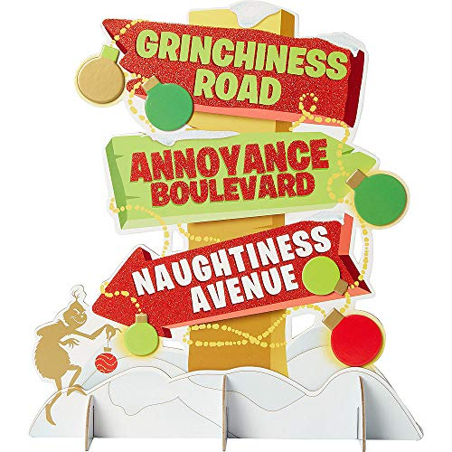 The Grinch Centerpiece 12 1/2in x 13 3/4in Cardstock Decoration   for Christmas; New Year or Birthday Grinch-Theme-Party