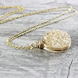 "Champagne Druzy 14kt Gold Filled Necklace - 18"" Length"