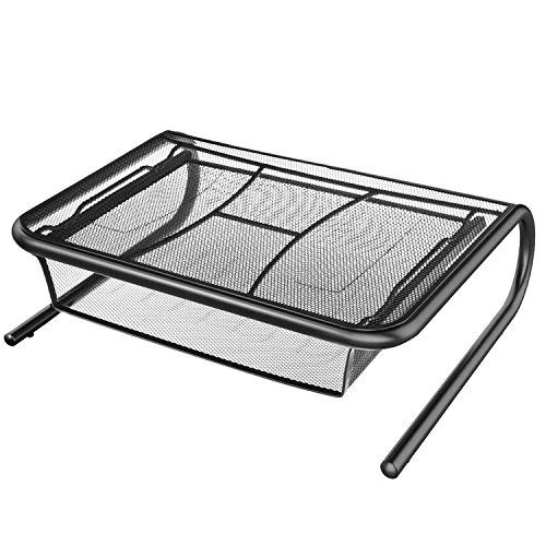 Monitor Stand Riser with Pull Out Storage Drawer - Mesh Metal Printer Holder with Ventilated Surface for Computer Laptop Printers - Keeps Your Devices Cool & Prevents Overheating - Premium Computer [並行輸入品]   B07K9MCDV2