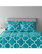AmazonBasics 7-Piece Bed-In-A-Bag, Full / Queen Bedding Comforter Sheet Set, Teal Trellis, Microfiber, Ultra-Soft