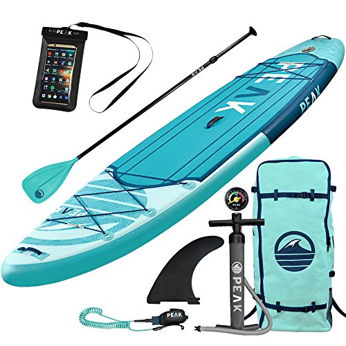 PEAK 11' Expedition Aqua  Inflatable Stand Up Paddle Board with Adj Paddle, Travel Backpack and Coil Leash (Aqua)