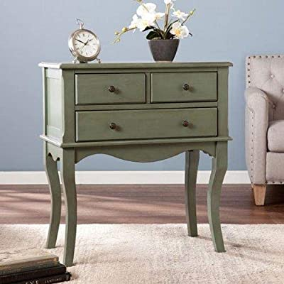 Southern Enterprises Cardamom 3 Drawer Accent Chest in Agate Green - Soft country style Function and fashion in one cabinet Two side-by-side drawers - sideboards-buffets, kitchen-dining-room-furniture, kitchen-dining-room - 51JFkBayFRL. SS400  -