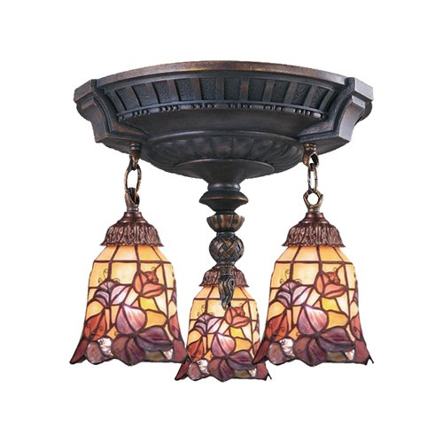Elk 997-Aw-17 Mix-N-Match 3-Light Semi-Flush Mount, 16-Inch, Aged Walnut With Floral Garden Tiffany Shades