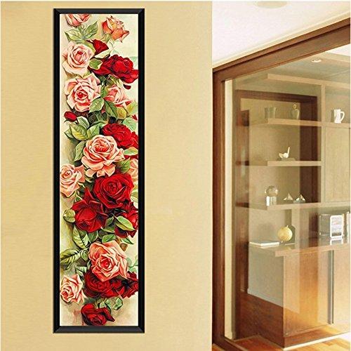 90 x 30 cm dise/ño de Rosas rom/ánticas con Punto de Cruz y Mosaico Wildlead Bordado de Diamantes de imitaci/ón
