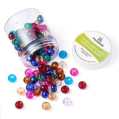 Pandahall 100pcs 15x10mm Glass European Beads Rondelle No Metal Core Large Hole Beads for DIY Jewelry Makings Bracelet Necklace Charms Mixed Color Hole: 5mm ()