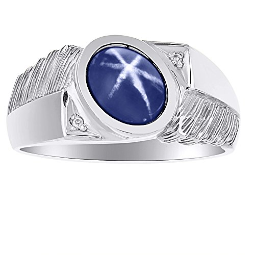 (Mens Classic Oval Blue Star Sapphire & Diamond Ring Set in Sterling Silver .925)