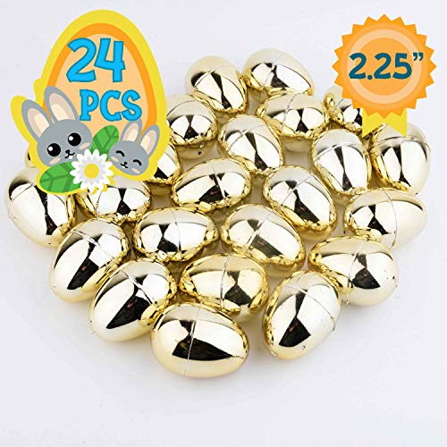 Totem World 24 2.25-inch Gold Metallic Easter Eggs - Perfect Size for Filling and Hiding Treats for Small Children - Bulk Assortment - Durable Designs That Snap Shut and Hold Tight ()