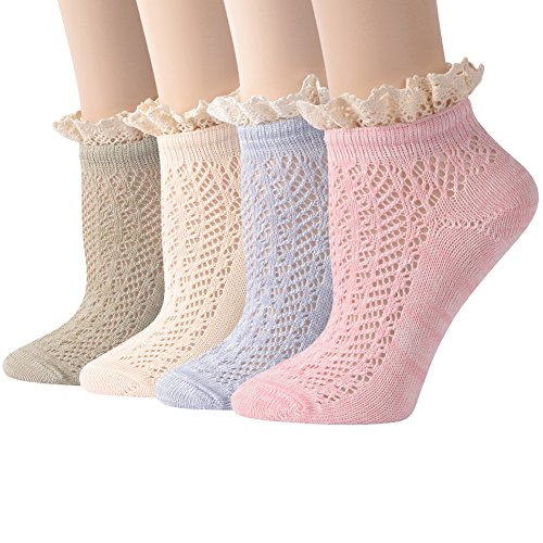 Lace Short Socks, Funcat Ladies Women Elastic Sheer Knitting Patterned Lolita Ankle Hosiery Socks 4 Pairs