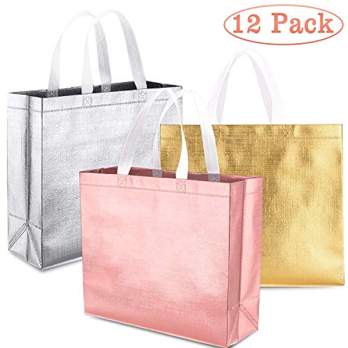 Whaline Set of 12 Glossy Reusable Grocery Bag, Tote Bag with Handle, Non-woven Stylish Gift Bag, Goodies Bag, Shopping Bag, Promotional Bag, for Party,Event,Wedding,Birthday (Rose gold, Gold, Silver) (Shopping Gift Bags)