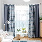 Modern Minimalist Nordic Style Geometric Wave Stitching All Blackout Living Room Floor to Ceiling Bedroom Bedroom Curtains Finished (Size : 3.5 * 2.7m)