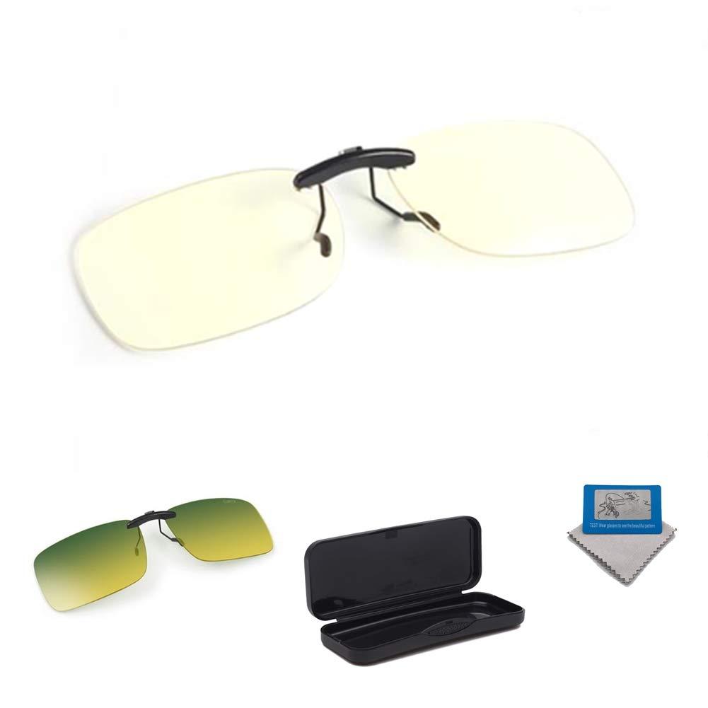 Blue Light Blocking [Rimless Frame] Computer Glasses Clip on Glasses, Anti UV Eye Strain Clear Lens Reading Video Eyewear