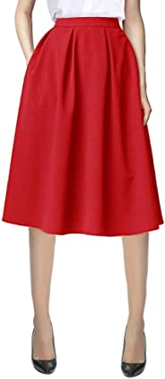 Urban CoCo Women's Flared A line Skirt Pleated Midi Skirt with Pockets
