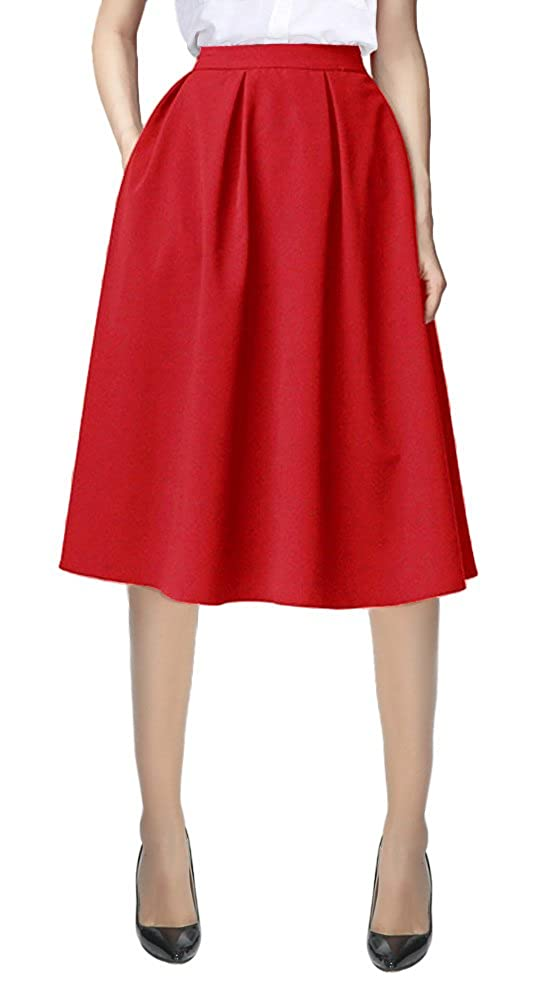 33f99cad1 Urban CoCo Women's Flared A line Pocket Skirt High Waist Pleated Midi Skirt  at Amazon Women's Clothing store: