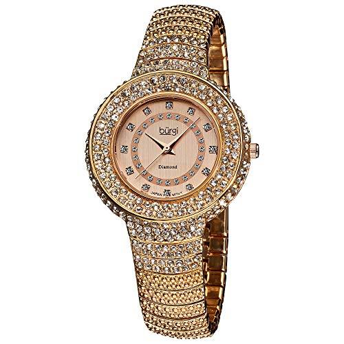 Burgi Diamond Accent Crystal Fashion Watch - Twelve Genuine Diamond Hour Markers On Three Rows Crystals on Bezel - BUR048