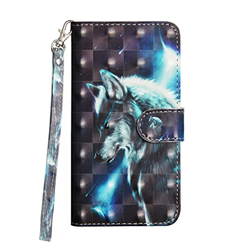 IVY Galaxy J7 2018 PU Leather Wallet Phone Case [3D Pattern][Magnetic Clasp][Card Cash Storage][Wrist Rope] for Samsung J7 V 2018/J7 Refine/J7 Star/J7 Aero/J7 Top/J7 Crown/J7 Aura/J7 Eon - Wolf