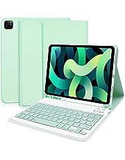 Etui na iPad Air 4. generacji z klawiaturą (2020, 10,9 cala) i wbudowanym uchwytem na ołówki Apple - wąski inteligentny pokrowiec z odpinaną klawiaturą Bluetooth do iPada 10,9 cala 2020/iPad Pro 11 2020/2018 (zielony)