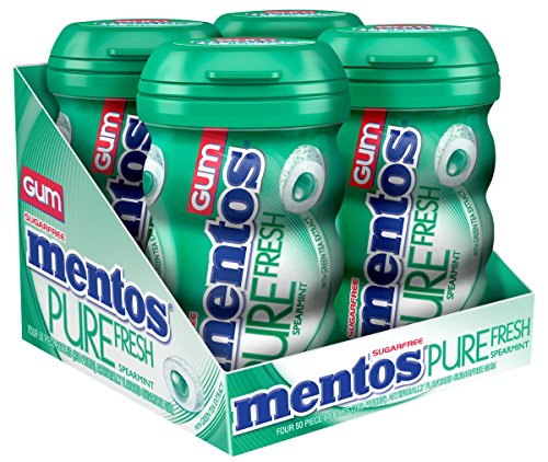 Mentos Pure Fresh Sugar-Free Chewing Gum with Xylitol, Spearmint, 50 Piece Bottle (Pack of 4) by Mentos
