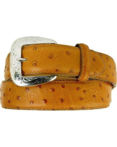 Tony Lama Men's Ostrich Print Leather Belt Reg And Big Cognac 46 (Ostrich Embossed Belt)